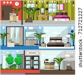 set of luxury hotel interior... | Shutterstock . vector #712721227