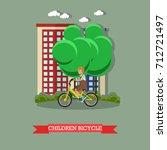 illustration of a kid riding... | Shutterstock . vector #712721497