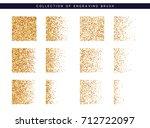 set of brush stipple gold... | Shutterstock .eps vector #712722097