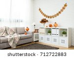 no people halloween decoration... | Shutterstock . vector #712722883