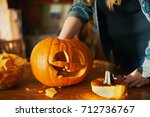 family fun activity   carved... | Shutterstock . vector #712736767
