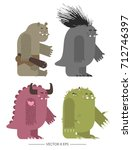 vector. set of flat style... | Shutterstock .eps vector #712746397