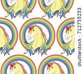 unicorn with rainbow seamless... | Shutterstock .eps vector #712755253