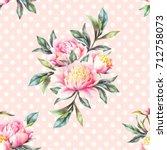 watercolor hand paint pink... | Shutterstock . vector #712758073