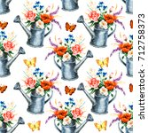 watercolor hand paint  seamless ... | Shutterstock . vector #712758373