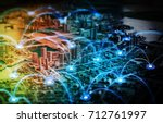 miniature model city and... | Shutterstock . vector #712761997