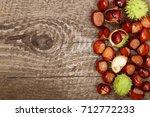 Chestnut On Old Wooden...