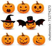 set pumpkin on white background....   Shutterstock .eps vector #712774273