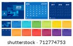 calendar 2018 template week... | Shutterstock .eps vector #712774753