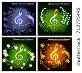 abstract musical background... | Shutterstock .eps vector #712775443