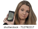 beautiful woman with a broken... | Shutterstock . vector #712782217