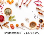 colorful dry herbs and spices... | Shutterstock . vector #712784197