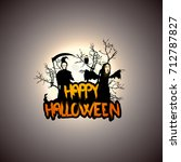 creepy halloween background... | Shutterstock .eps vector #712787827
