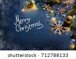 christmas card. branch of... | Shutterstock . vector #712788133