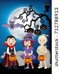 cartoon kids with halloween... | Shutterstock .eps vector #712788913