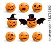 set of smiles for halloween.... | Shutterstock .eps vector #712792303