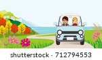 car driving in the autumn road  ... | Shutterstock .eps vector #712794553