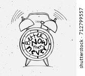 hand draw alarm clock... | Shutterstock .eps vector #712799557