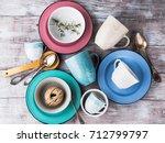 ceramic crockery tableware on... | Shutterstock . vector #712799797