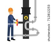 oilman character working on an... | Shutterstock .eps vector #712812253