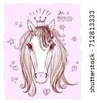 graphic horse head  portrait... | Shutterstock .eps vector #712813333
