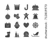 christmas symbols icon set  on... | Shutterstock .eps vector #712819573