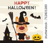 happy halloween  greeting card... | Shutterstock .eps vector #712821283