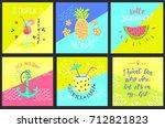 set of summer hand lettering...   Shutterstock .eps vector #712821823