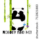 cute and funny panda hides in... | Shutterstock .eps vector #712821883