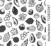 pattern with vector exotic... | Shutterstock .eps vector #712822567