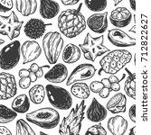 pattern with vector exotic... | Shutterstock .eps vector #712822627