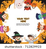 happy halloween. children... | Shutterstock .eps vector #712829923