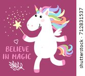 cute magical white unicorn with ... | Shutterstock . vector #712831537
