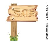 wooden sign board. sale... | Shutterstock .eps vector #712835377