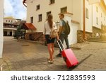 two travelers on vacation... | Shutterstock . vector #712835593