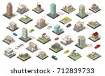 isometric city elements... | Shutterstock .eps vector #712839733