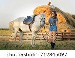 beauty brunette woman with... | Shutterstock . vector #712845097