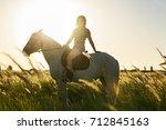 beauty brunette woman with... | Shutterstock . vector #712845163