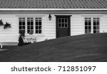 traditional norwegian wooden... | Shutterstock . vector #712851097