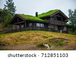 traditional norwegian wooden... | Shutterstock . vector #712851103