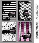 grunge poster set  striped... | Shutterstock .eps vector #712863967