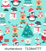 seamless christmas pattern with ...   Shutterstock .eps vector #712864777