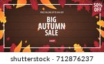autumn background with leaves... | Shutterstock .eps vector #712876237