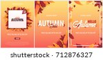 set of autumn backgrounds with... | Shutterstock .eps vector #712876327