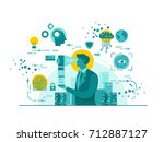 Isolated Biometric Device Technology Start Up Business Concept Illustration | Shutterstock vector #712887127