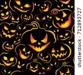 halloween seamless pattern with ... | Shutterstock .eps vector #712893727