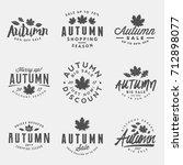 set of autumn sale badges.... | Shutterstock .eps vector #712898077