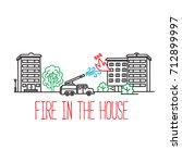 fire truck extinguishes an... | Shutterstock .eps vector #712899997