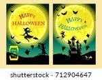 happy halloween. witch  ghost ...   Shutterstock .eps vector #712904647
