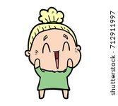 cartoon happy old lady | Shutterstock .eps vector #712911997